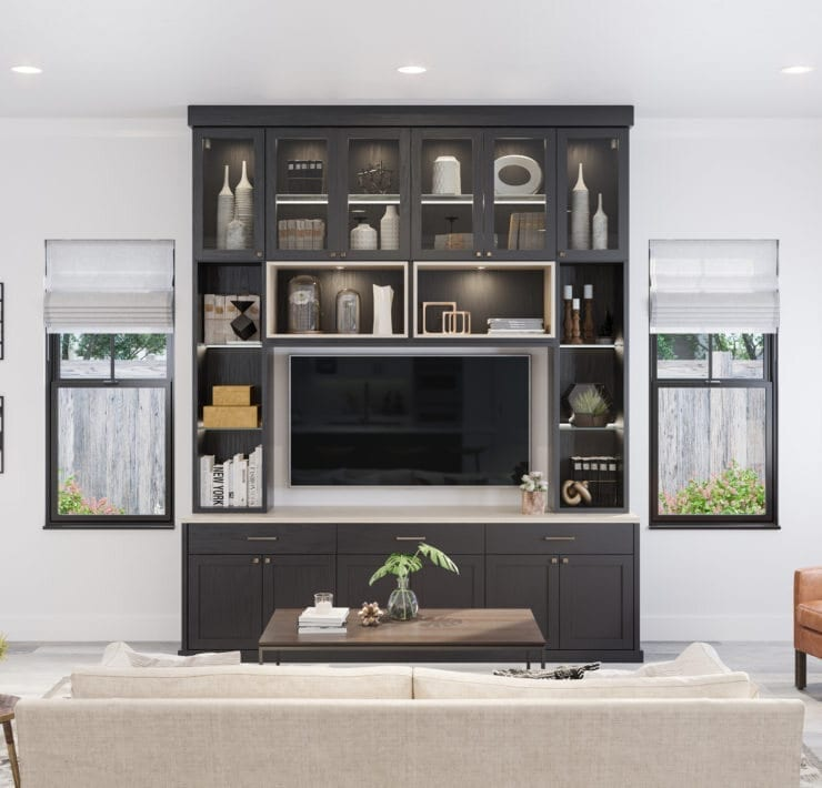 California Closets Great Room - Small Dakota - Black with Natural Accents