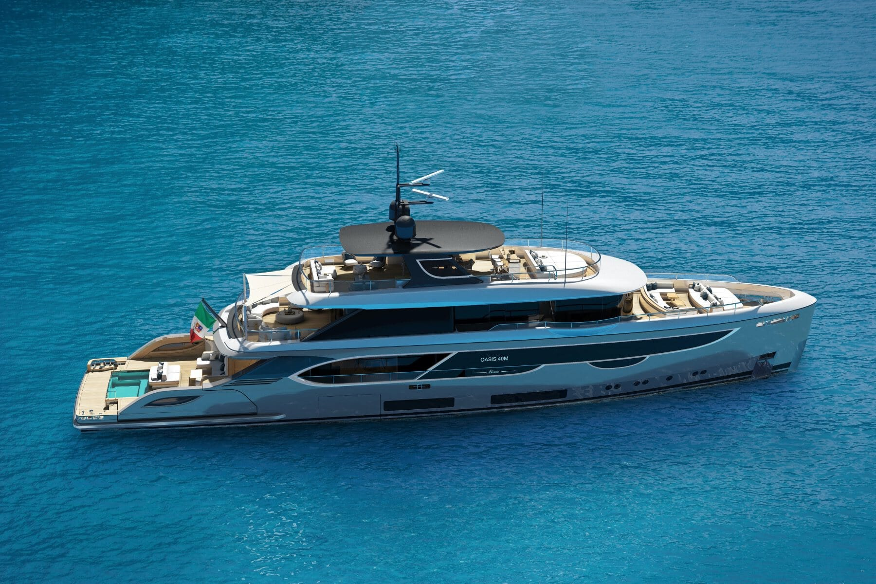 Benetti Oasis 40M View flaps up