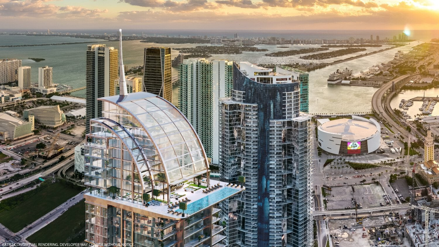 Rendering of Downtown Miami with Paramount Miami Worldcenter and Legacy Hotel & Residences