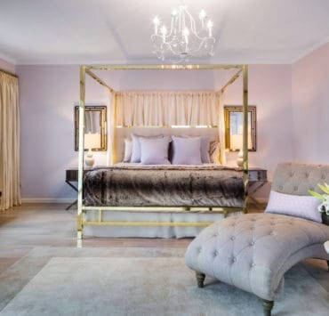 Bedroom design by DLT Interiors; custom pillows and window treatments with Osborne & Little fabrics; bedding by TFG Italy – Photo by John Neitzel