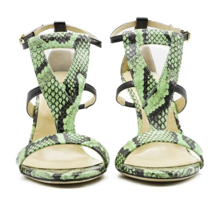 Amina Green High Heel Sandal Front min