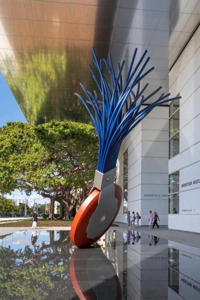 "Norton Museum of Art's Heyman Plaza featuring ""Typewriter Eraser, Scale X"" (1999) by Claes Oldenburg and Coosje van Bruggen"