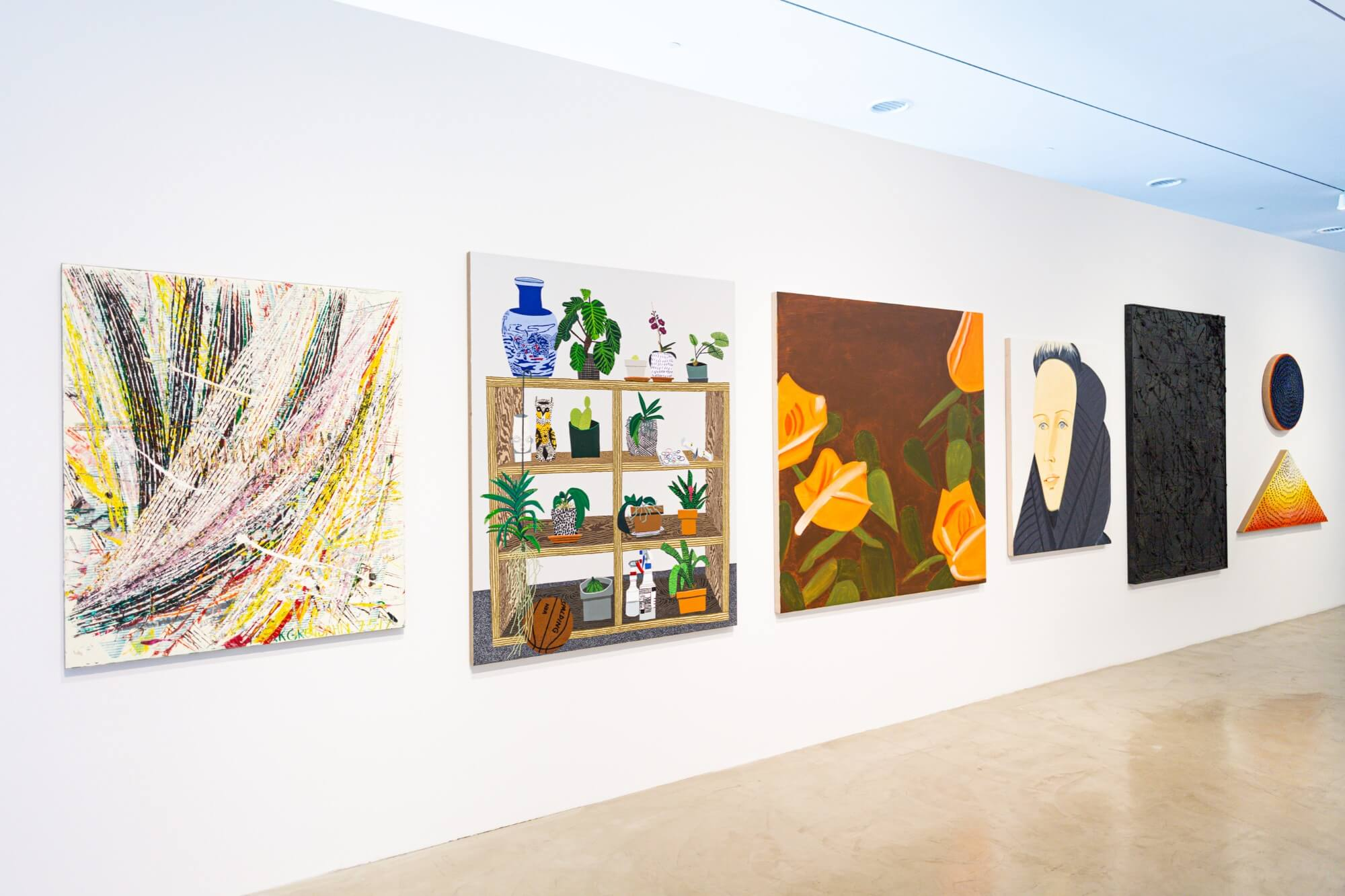 Installation view of A Possible Horizon at the de la Cruz Collection, 2020-21 Pictured left to right: work by Mark Grotjahn, Jonas Wood, Alex Katz, Rashid Johnson and Jennifer Guidi