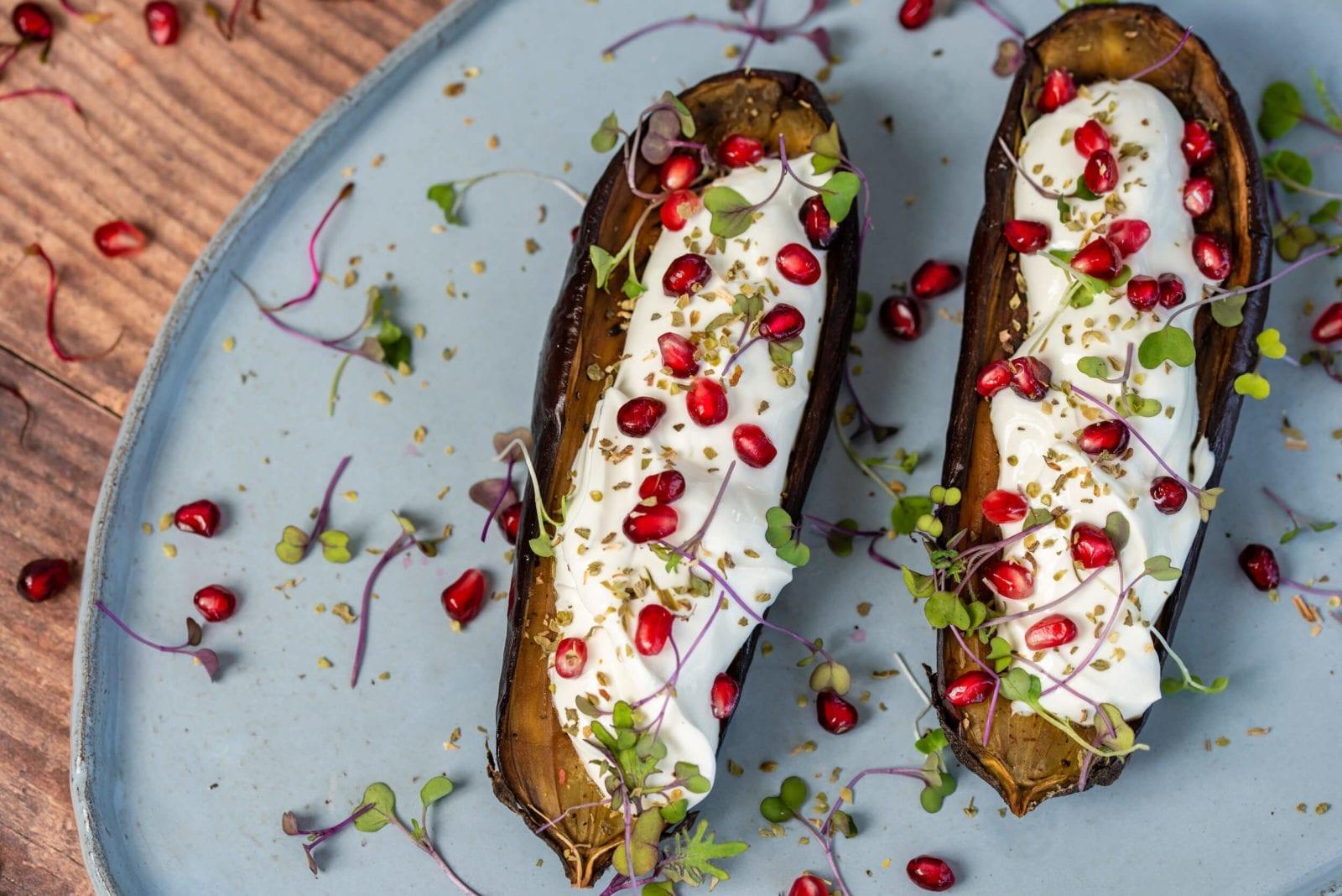 Doya's Eggplant with Strained Yogurt & Pomegranate