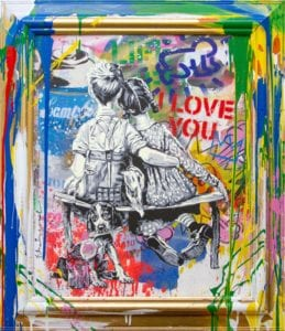 """Mr. Brainwash's """"Work Well Together,"""" 2020; silk-screen and mixed media on framed canvas, 30"""" x 26""""; courtesy New River Fine Art"""