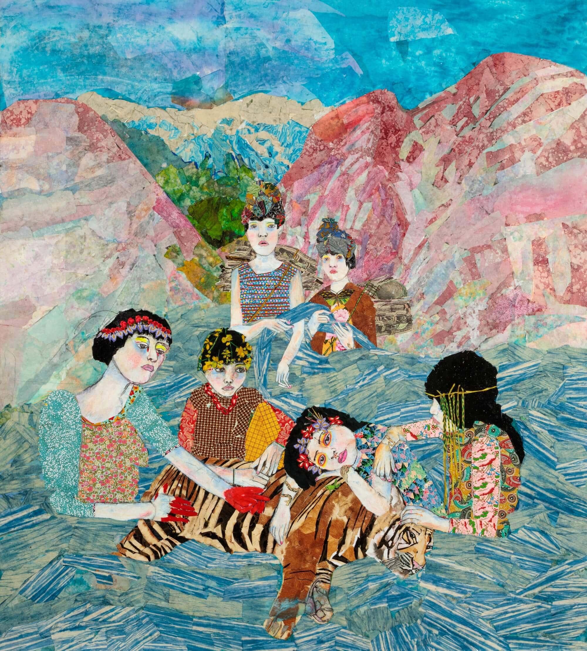 "María Berrío's ""Aluna,"" 2017; collage with Japanese paper, 72"" x 80"" (Esperando Mientras la Noche Florece at Norton Museum of Art); courtesy the artist/Collection Ford Foundation"