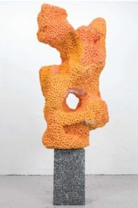 "Nicolas Lobo's ""Napalm Stone (Bronzer Version #1)"", 2014; napalm, Play-Doh, terrazzo, spray bronzer, 20"" x 20"" x 72"" (New Art South Florida at NSU Art Museum); courtesy the artist"