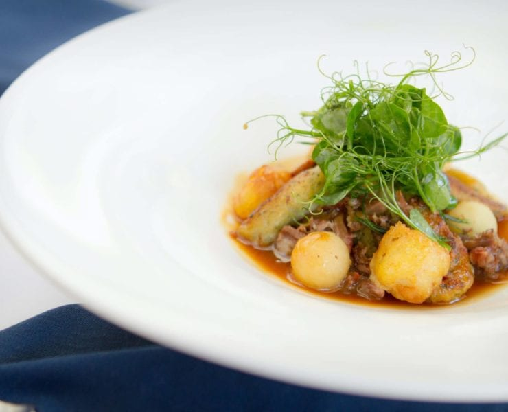 PB Catch's Crispy Bay Scallops with Oxtail, Apple & Spaetzle