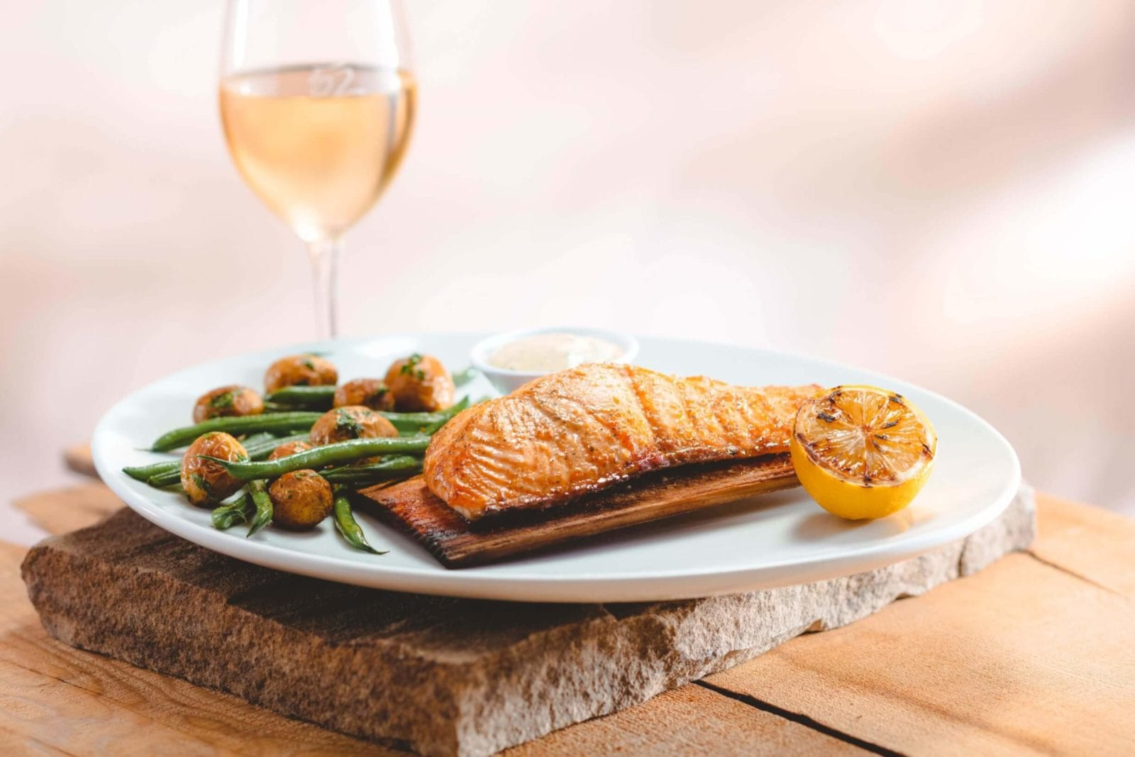 Seasons 52 Fort Lauderdale's Cedar Plank-Roasted Salmon