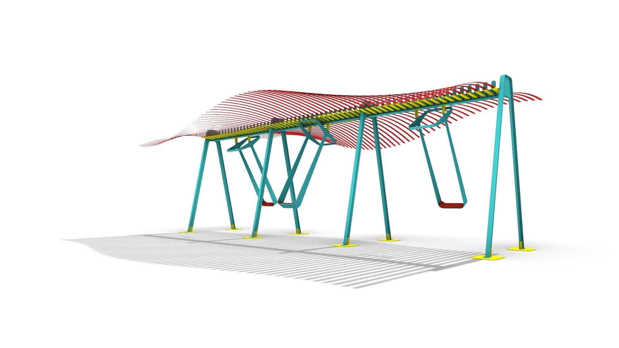 Rendering of swings, part of gt2P's Conscious Actions, 2020 Miami Design District commission