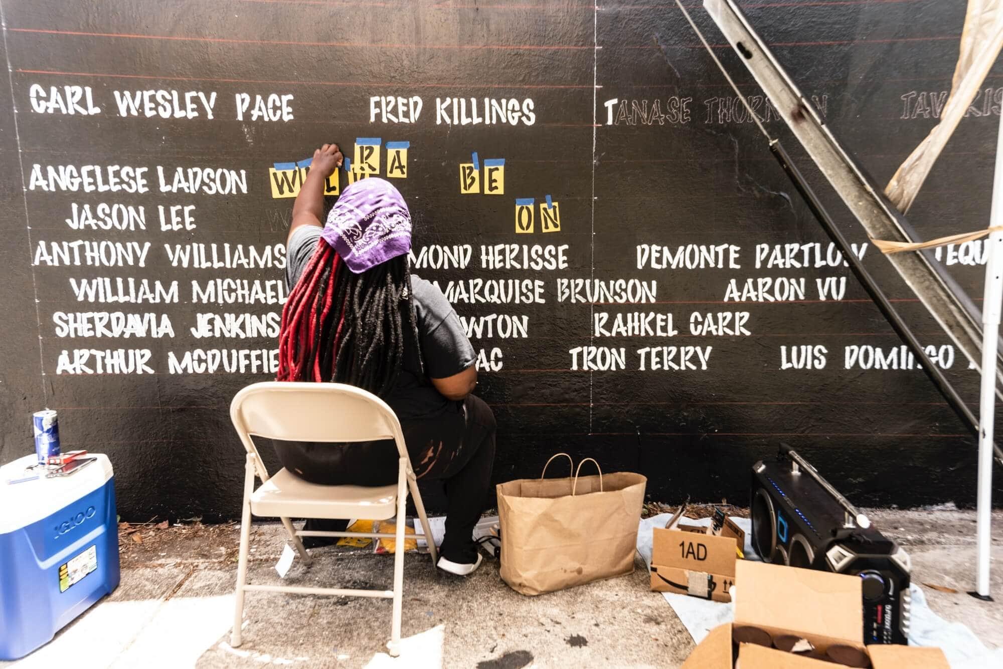 "VantaBlack working on ""Say Their Names"" mural at Bakehouse Art Complex, 2020; photo by Mateo Serna Zapata"