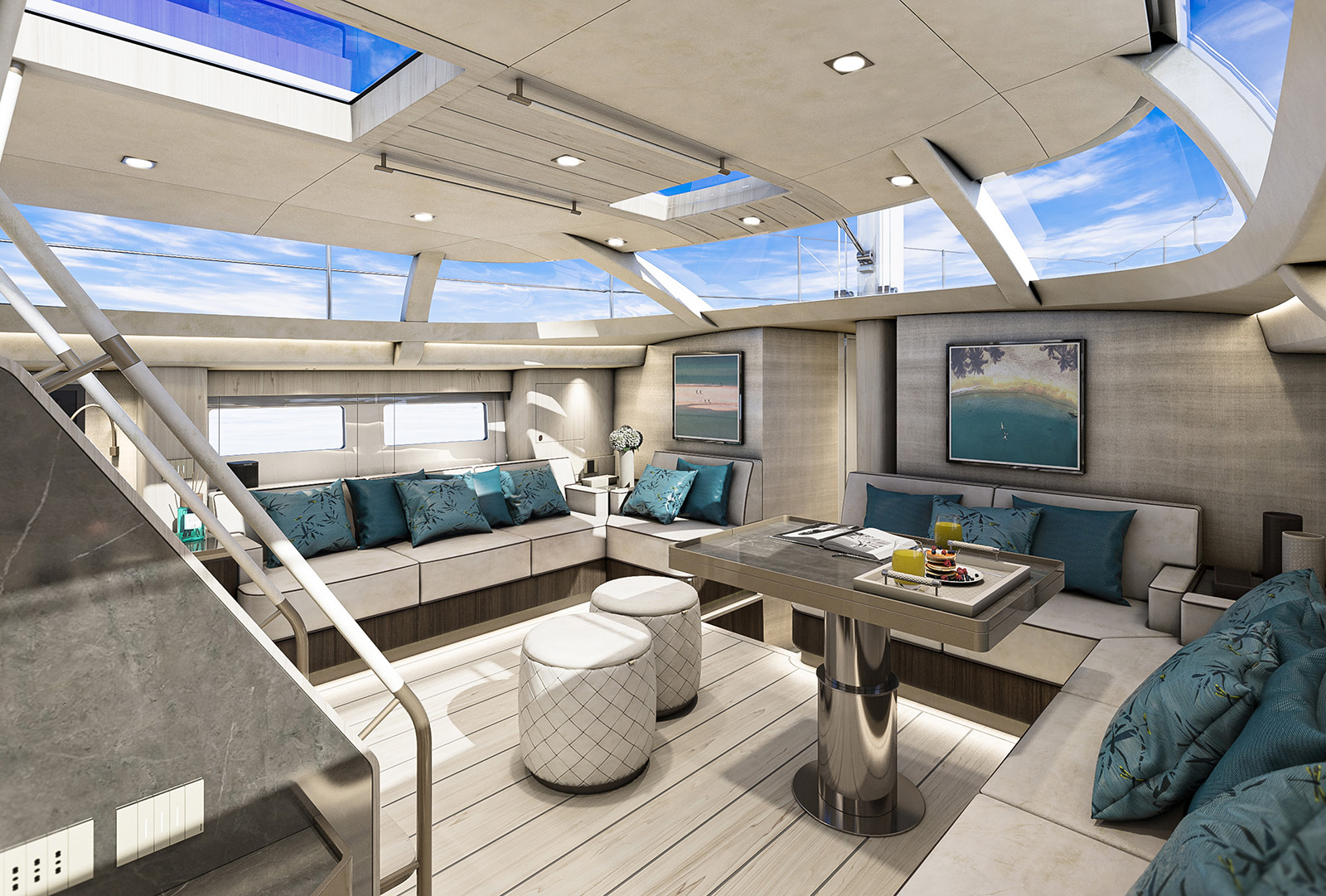 Salon and galley on the Hylas H57