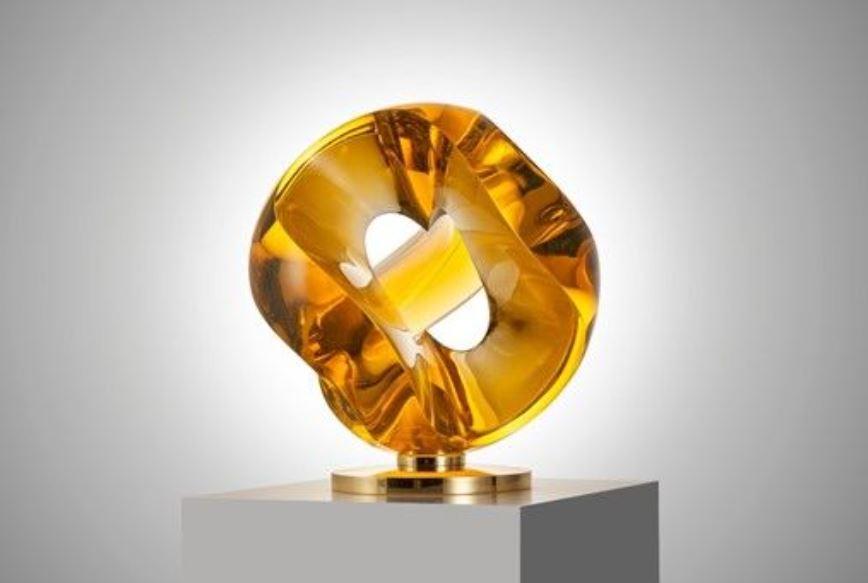 Amber Heart Sculpture