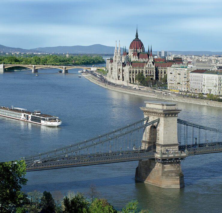 The Viking Longship sails through Budapest