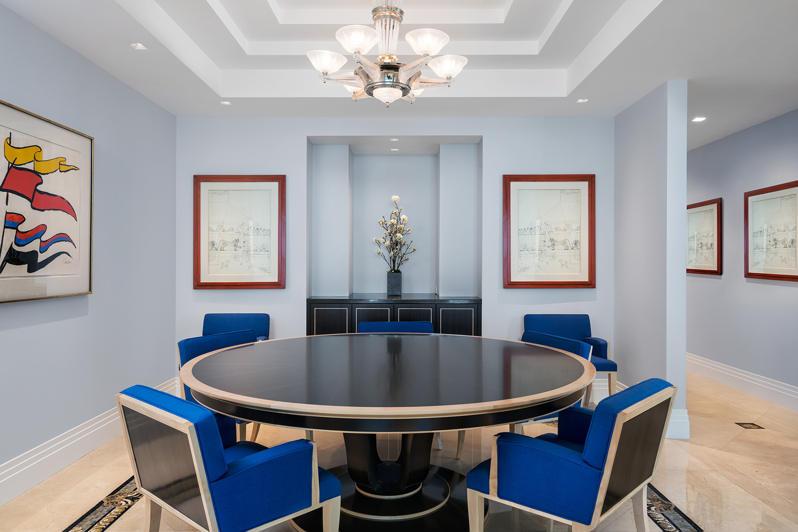interior using custom dining table and chairs by Tim Gosling